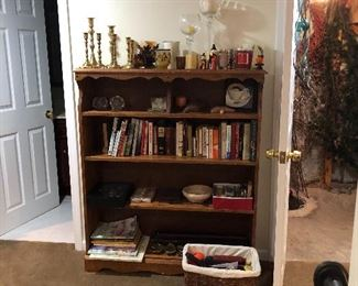 Bookcase, Books, Candles,