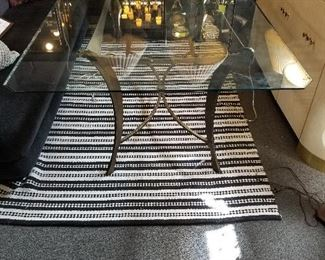 Glass Top Dinning Room Table with Metal Base