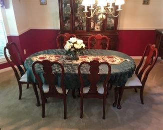 Cherry Dining Room set with 6 upholstered chairs