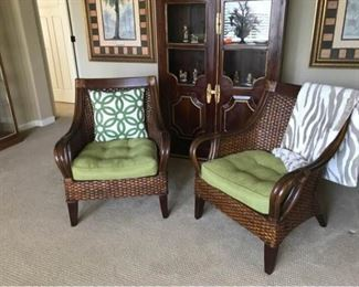 206D Pair Rattan Club Chairs