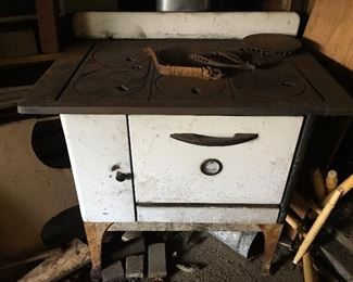 A wood burning kitchen stove.