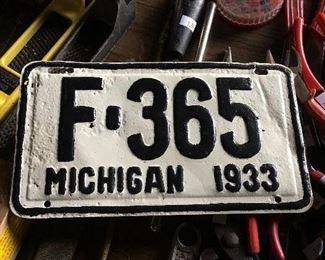 Vintage 1933 Michigan license plate