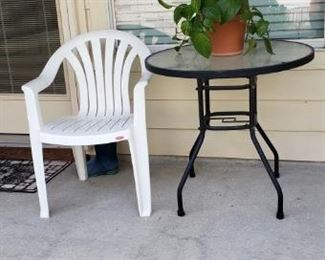 ourdoor table, chair