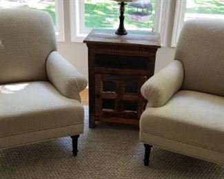 Ethan Allen Club Chairs with Brass Tacks