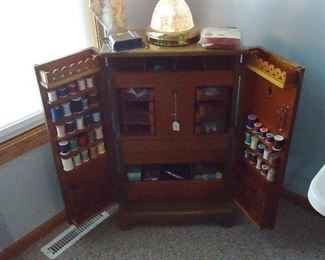 VINTAGE SEWING CHEST WITH ALL THE GOODIES
