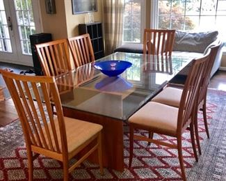 "GORGEOUS WORKBENCH MODERN GLASS TOP DINING TABLE W/8 CHAIRS. MINOR CHIP ON EDGE 72"" LENGTH X 42"" WIDTH X 29"" HEIGHT"
