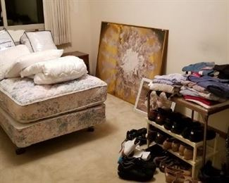 Oreck vacuum, complete twin bed, nightstand, painting clothing and shoes...