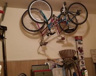 A girl's Trek bicycle and a vintage woman's Schwinn...