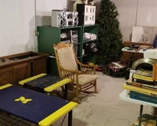 Reproduction/vintage phonograph, rocking chair, vintage board games, 2 stereo systems, more green shelves, 6' pre-lit Christmas tree, very nice dollhouse with accessories...