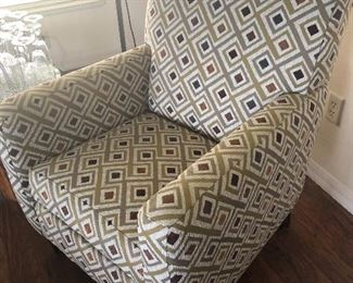 2 Flexsteel Geometric Pattern Upholstered Occasional Chairs - $250 EACH - (29W  33D  38H)