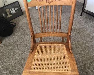 Vintage Oak Pressed Back Rocker with Cane Seat - $100