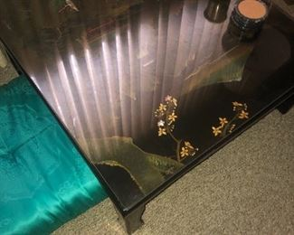 Set of 2 dinner or coffee table inlay pearl, glass top$300