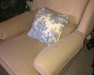 Cream accent chair with ottoman $45
