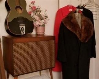 Mid-Century record cabinet, vintage coat