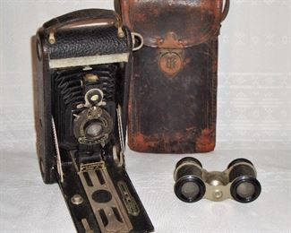 ANTIQUE KODAK CAMERA WITH CASE - PAT. JAN 1813 and small BINOCULARS