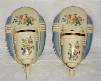 SWEET PAIR OF WALL SCONCE LIGHTS WITH PULL STRINGS