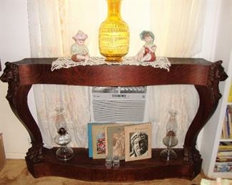 "EXCEPTIONAL MANTEL PIECE ""PORTABLE"" CARVED LIONS HEADS ON EACH END ""SEE NEXT PHOTO"""