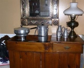 Vintage handmade dry sink, lovely tile framed mirror, vintage mid-century bar ware & chafing dish, some pieces of the pewter collection