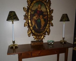 nice Ethan Allen entry table & painting