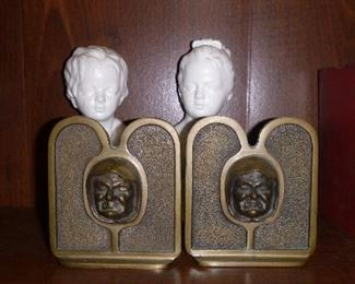 "Rare Antique Bronze Bookends by Wellman ""Grimacing Monk"""