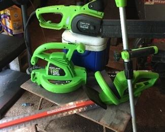 string trimmer, hedge trimmer, blower/vac/mulch, chain saw.  all are corded/electric