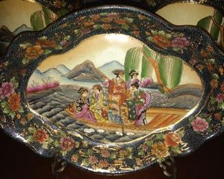Satsuma China footed platter.  Also have two matching urns.
