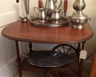 Tea cart and pewter items