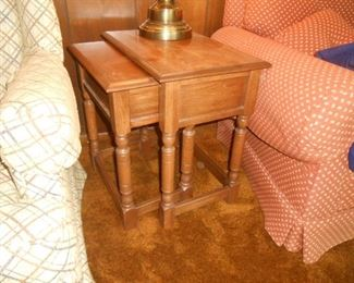 2 of a 3 part set of nesting tables in the family room