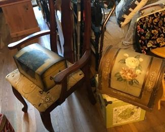 One of a pair of Queen Anne Chairs.  Some decorative storeage boxes.