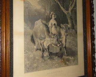 Large Antique  print, women w/ cows