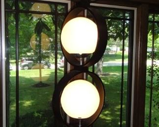 Modeline Lamp? Baughman? Bent wood three tier lamp, Courtly Glass Globes . Needs new switch