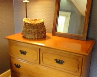 Chest of Drawers,  Lamp, Basket, Mirror