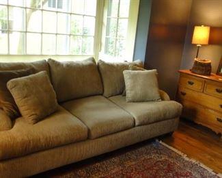 Deep Corduroy Sofa, Matching Chair and Half