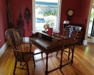 Antique Desk,  Double sided, Windsor Chairs , unique and amazing finds
