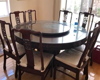 Beautiful Lacquer Round Dining table w/ 8 chairs