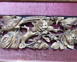Chinese wood carved gilt panel