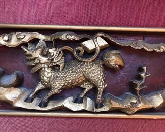 Chinese wood carved gilt panel with Kirin motif
