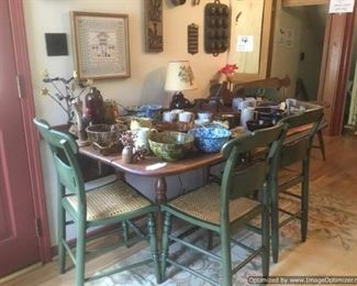 Drop leaf table, spongeware, spatterware, iron kitchen utensils