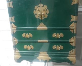 Jewelry chest, lacquer with brass batwing hardware, Chinese