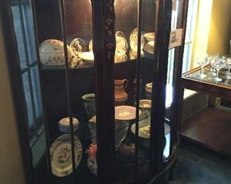 Victorian Curved Curios Cabinet