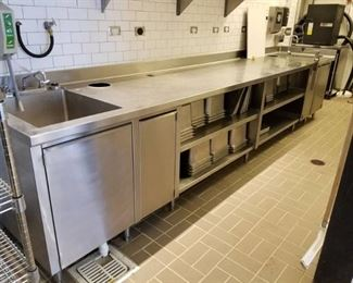 Stainless Steel Double Bay Sink With Storage Shelves