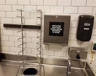 Metal Rack, Paper Towel Holder, Soap Dispenser and Sanitizer Dispenser