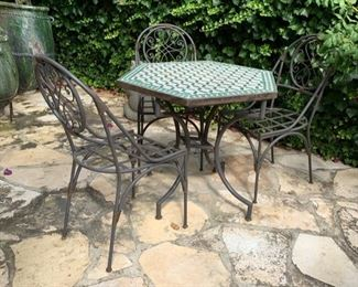 Hexagonal Outdoor Table and 3 Chairs