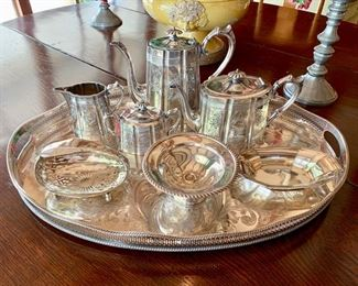 Edwardian Tea Set, James Dixon and Sons, EP; ; Some Sterling Servers (Gorham, Etc.)
