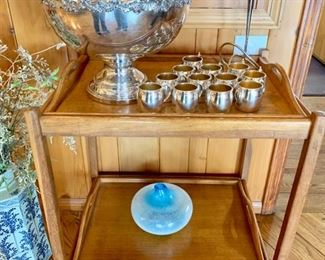 """Mid-Century TeaCart, Trays Removable  Cart Folds, 28"""" X20"""" X 30"""";  Punch Set also has Large Tray, S.P."""
