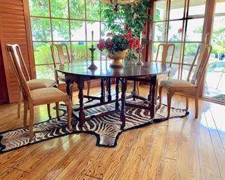 "Antique English Oak  Double Gateleg Dining Table, Circa 1860 ; 66"" Diameter;  6 Newer Oak Chairs"