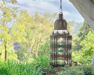 """76"""" Tall Electric Lantern (Some Glass Needs Replacement)"""