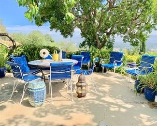 Outdoor Wrought Iron Table and Chairs; Blue and White  Garden Seat