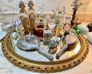 Mirrored Plateau with Perfumes and Trinkets