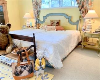 """Italian Pr ovincial King-Size Bed and """"Milling Road for Baker"""" End Tables ; Vintage Mohair Bear"""